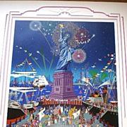 Fantastic Melanie Taylor Kent Serigraph - Statue of Liberty Centennial