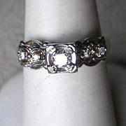 Stunning Vintage 14k White Gold and Diamond Ring