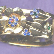 SALE Vintage CORO Goldtone Bangle Floral Bracelet with Multicolor Rhinestones