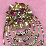 SALE Vintage Gold-Filled Pink & Clear Rhinestones Large Pin or Pendant