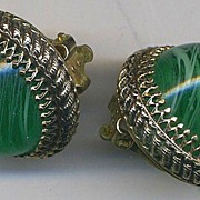 SALE WHITING & DAVIS Vintage Green Glass Orb Earrings