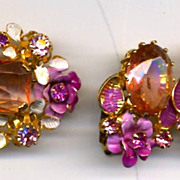 AUSTRIA Vintage Set: Large Pink Glass Stone Pin & Earrings
