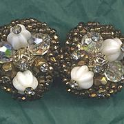 VENDOME Vintage Brown & White Beaded Earrings