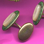 Antique Green Guilloche Enamel & Mother of Pearl Cufflinks
