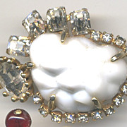 Unusual Molded White Glass Stone and Rhinestone Marvella Pin