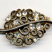 Crown Trifari Trifanium & Rhinestone Vintage Pin Brooch