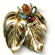 Vintage CORO Insect on Leaf Pin Brooch