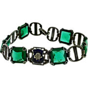Sterling and Green Glass Rock of Chickamauga 19th Infantry Bracelet