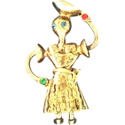 Sterling Silver Pin of Ethnic Girl Carrying Basket on Head