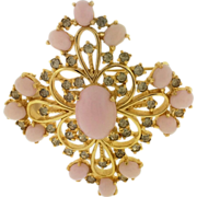 "Polcini Large Pink Cabochon & Grey Rhinestone Vintage 2"" Pin"