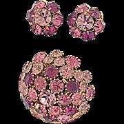 Warner Vintage Pin Brooch and Earrings: Three Shades of Pink Purple