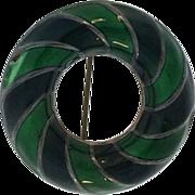 David-Andersen Sterling Tones of Green Pin Brooch