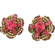 Josef Morton Vintage Seed Pearl & Pink Glass Clip Earrings
