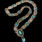 "Bezel-set Blue Faceted Faceted Glass Stone 18"" Necklace. Vintage"