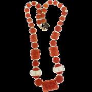 Gorgeous Orange Hand-made Bead Vintage Necklace