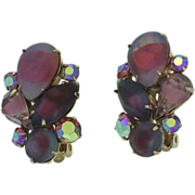 Coro Aurora Borealis, Satin Stones in Purple and Pink Clip Vintage Earrings