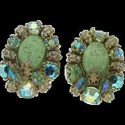 Hobé Light Green Melon and AB Stones Clip Earrings