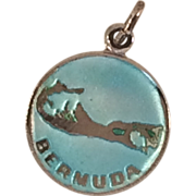 Sterling Silver Charm or Pendant of Bermuda, w/ Blue Enamel