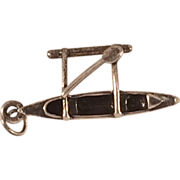Sterling Silver Charm or Pendant of Outrigger Canoe, Boat Often Seen in Hawaii