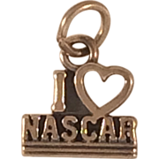 "Sterling Silver Charm That Says ""I Love NASCAR"""