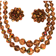 Vintage Laguna Two-Strand Aurora Borealis Bead Necklace and Earrings Set