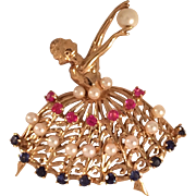 Vintage 14K Gold, Pearl, Ruby, and Sapphire Ballerina Dancer Pin Brooch
