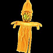 Vintage Joseph Warner Figural Green Rhinestone Scarecrow Pin Brooch
