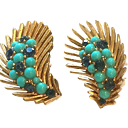 Vintage Trifari Goldtone Earrings with Turquoise and Navy Stones