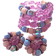 Vintage Hobé Wrap Bracelet and Earrings Set in Blue, Pink, and Purple