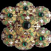 Edwardian Art Nouveau Antique Enamel and Green Glass Stone Belt Buckle GORGEOUS