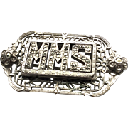 Vintage Marcasite Brooch Pin with Monogram Initials MMS