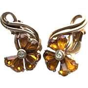 Vintage Pennino Amber Yellow and Goldtone Flower Clip Earrings