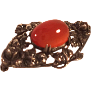 Vintage Wachenheimer Sterling and Orange Carnelian Rose Brooch Pin Pre-1932