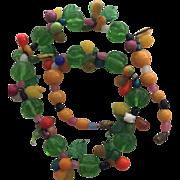 Vintage Venetian Italian Glass Fruit 19 Inch Necklace