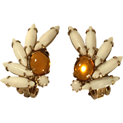 Vintage Weiss White Glass and Orange Mirror Stone Clip Earrings