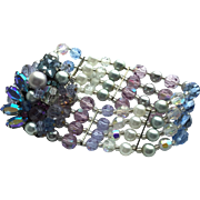 Eugene Vintage Bracelet with Pink, Blue, Grey Beads and Unusual, Gorgeous Clasp
