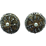 Vintage Gorgeous Seed Bead, Tiny Faux Pearl, and Goldtone Clip Earrings