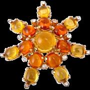 Castlecliff Yellow & Orange Cabochon Burst Pin