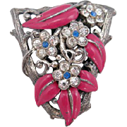 Trifari Pink Enamel Leaf and Rhinestone Flower Dress Clip