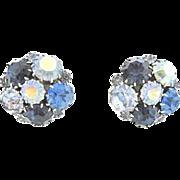 Karu Blue Silver-Tone Rhinestone Earrings: circa 1950