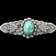 Native American Sterling Navajo Thunderbird Turquoise Pin