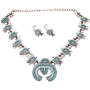 Zuni Native American Sterling Silver Turquoise Squash Blossom Necklace and Earrings