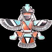 Frank Vacit Zuni Native American Sterling Inlay Knifewing Pin/Brooch