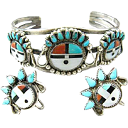 Native American Zuni Sterling Inlay Sun Face Cuff Bracelet and Earrings