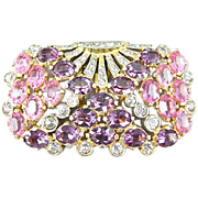 Eisenberg Original Pink and Amethyst Rhinestone Dress Clip