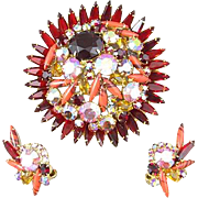 D & E Juliana Vibrant Rhinestone Pin and Earrings