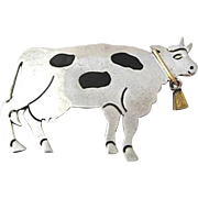 Sterling Silver Cow with Bell Signed TV 94, Mexico, 925