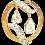 Crown Trifari Rose-Gold Tone Rhinestone Brooch