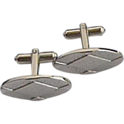 Oblong Silver Tone Triangle Theme Cufflinks
