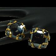 Large Hematite Gold Tone Cufflinks Cuff Links